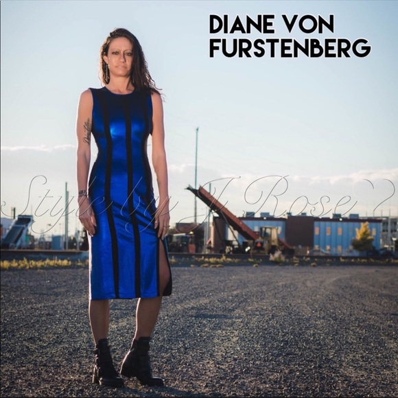 Diane Von Furstenberg Dresses & Skirts - New DVF Black & Blue Sequin Midi Dress